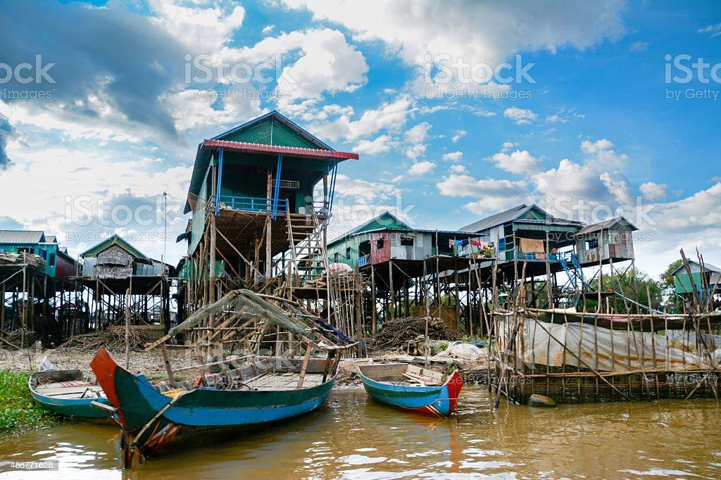Stilted Houses in Tonle Sap Lake Fishing Village, Cambodia. stock photo