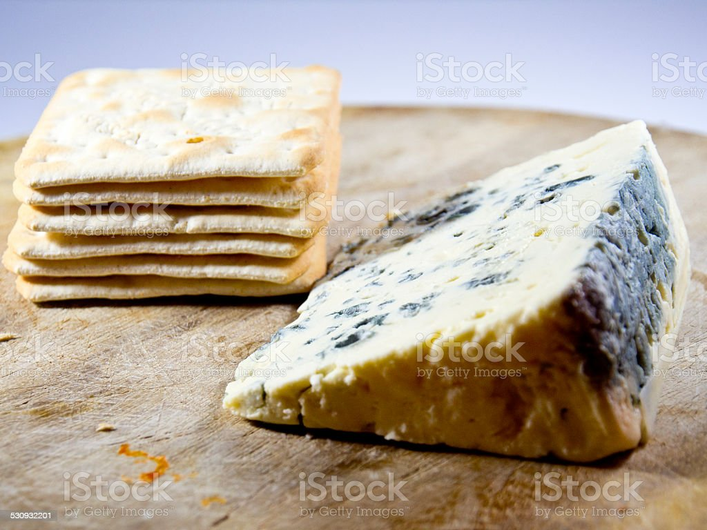 Stilton Cheese and crackers stock photo