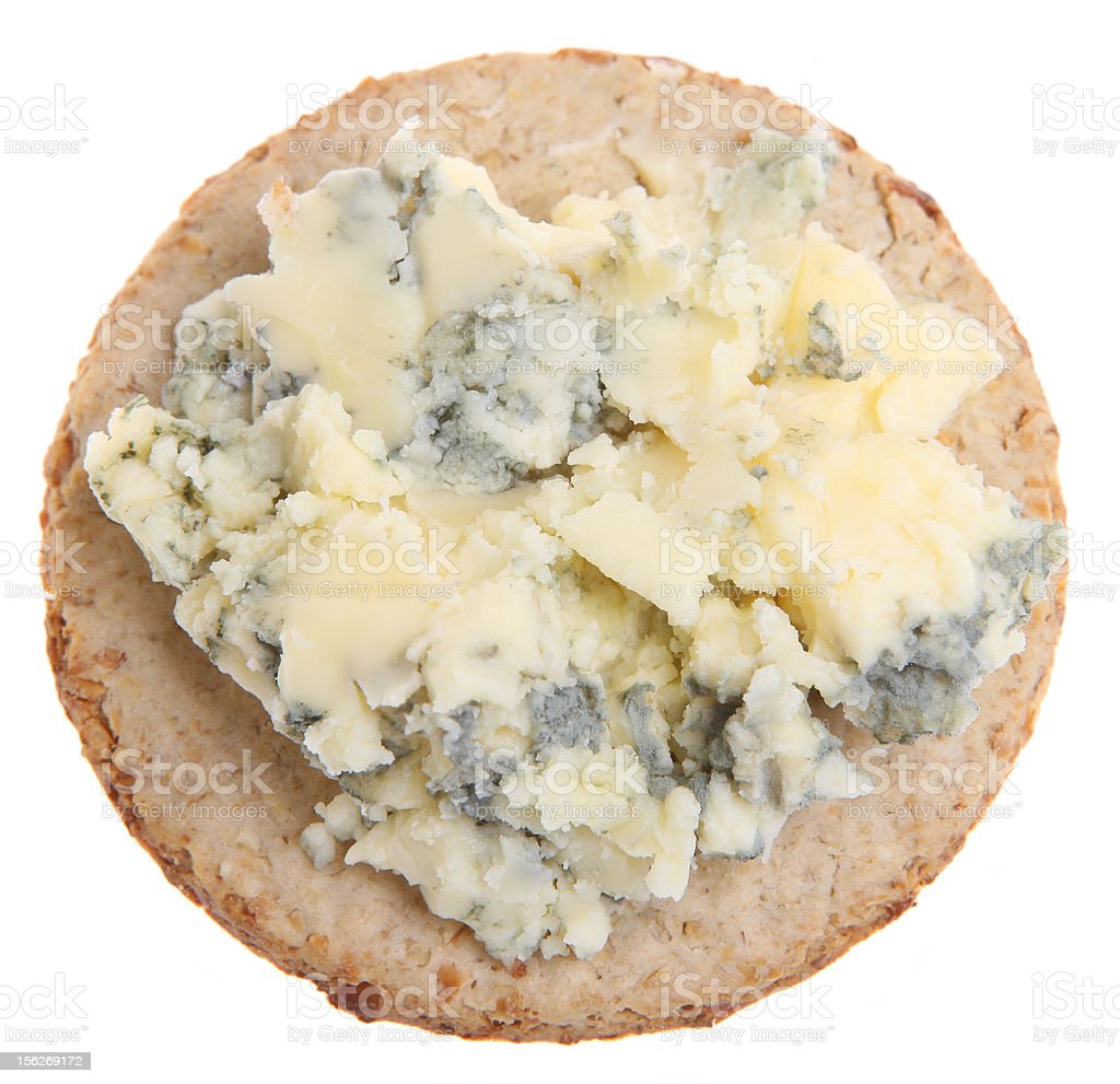 Stilton Cheese on Biscuit stock photo
