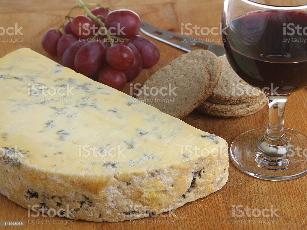 Stilton Cheese & Port Wine stock photo
