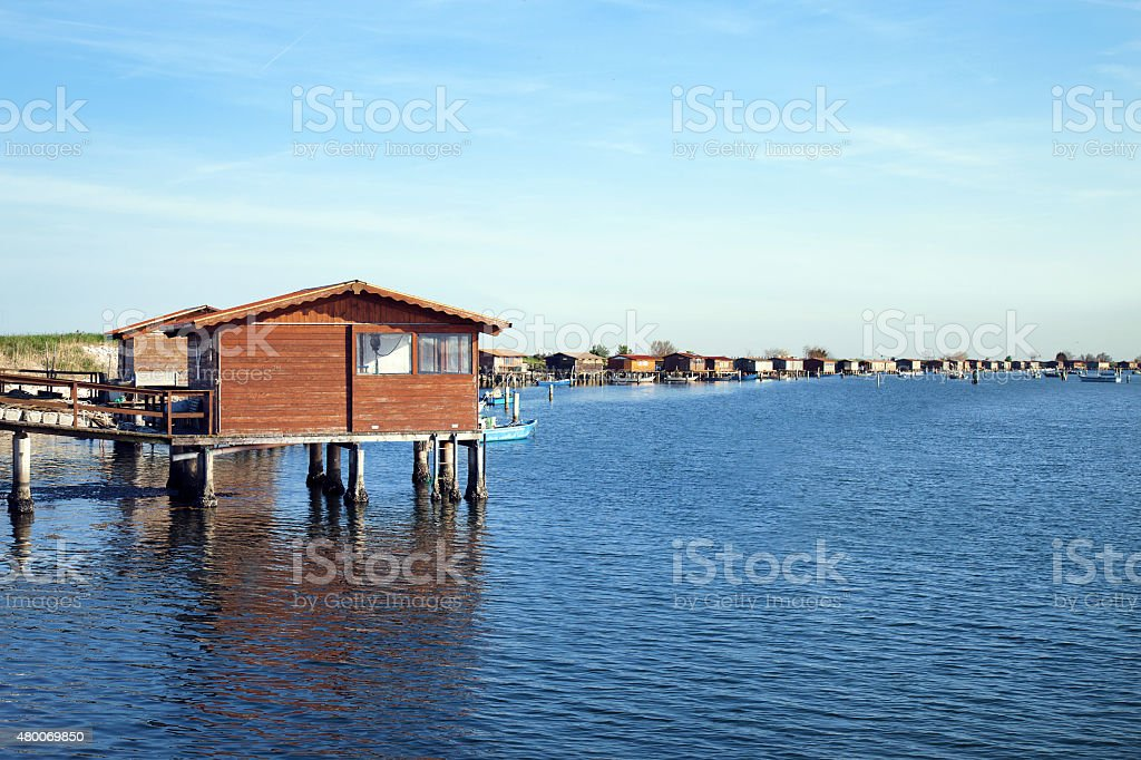 Stilts village dwelling fishermen houses stock photo
