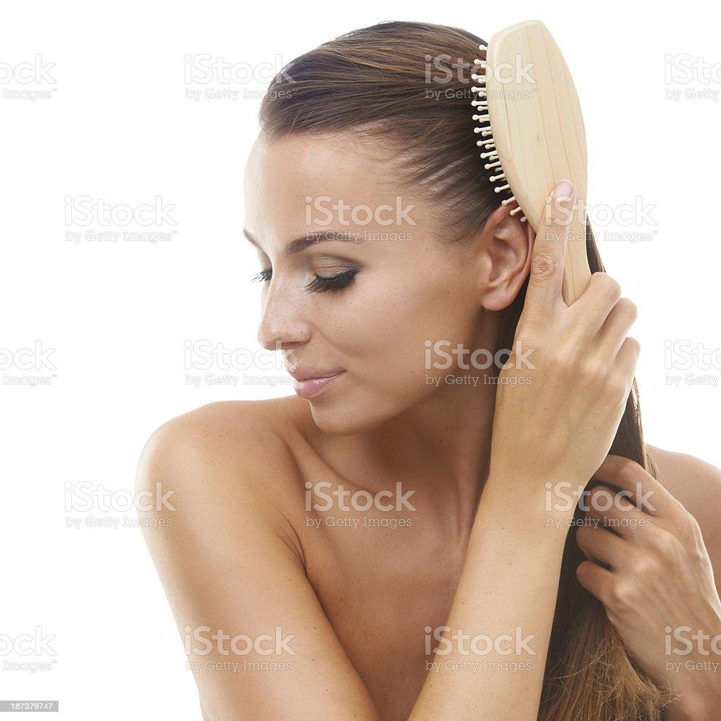 Stimulating hair growth royalty-free stock photo