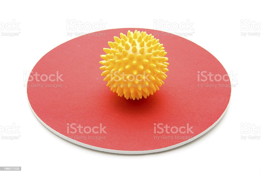 Sting ball on red mat royalty-free stock photo