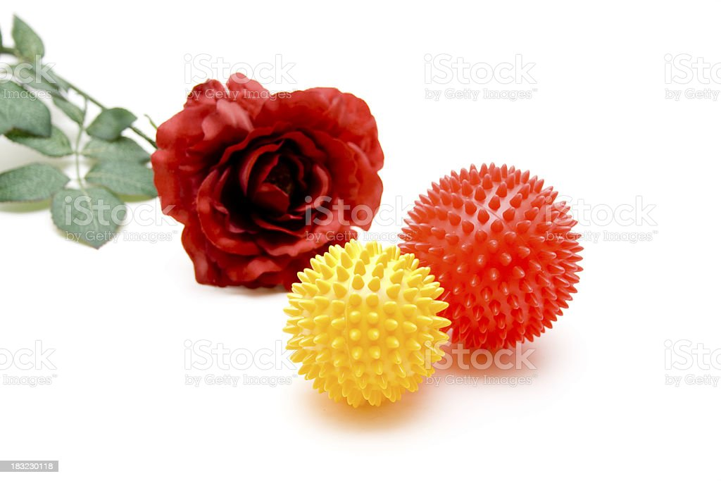 Sting ball with red rose royalty-free stock photo