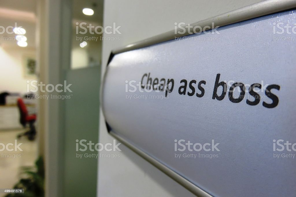 stingy Boss Concept, How about a raise? stock photo