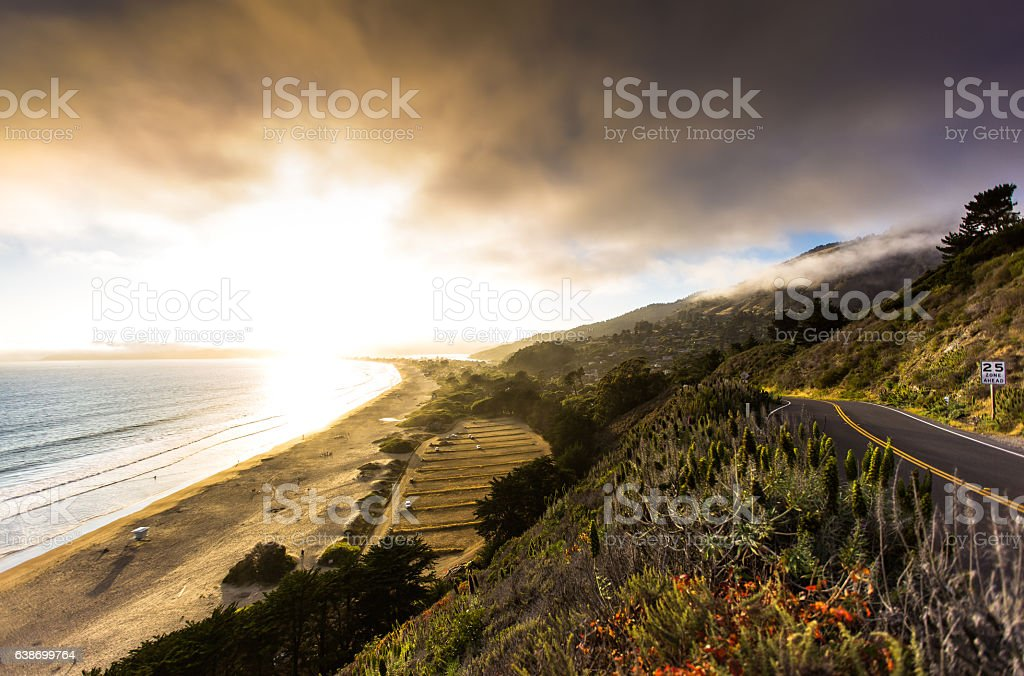 Stinson Beach at Sunset stock photo
