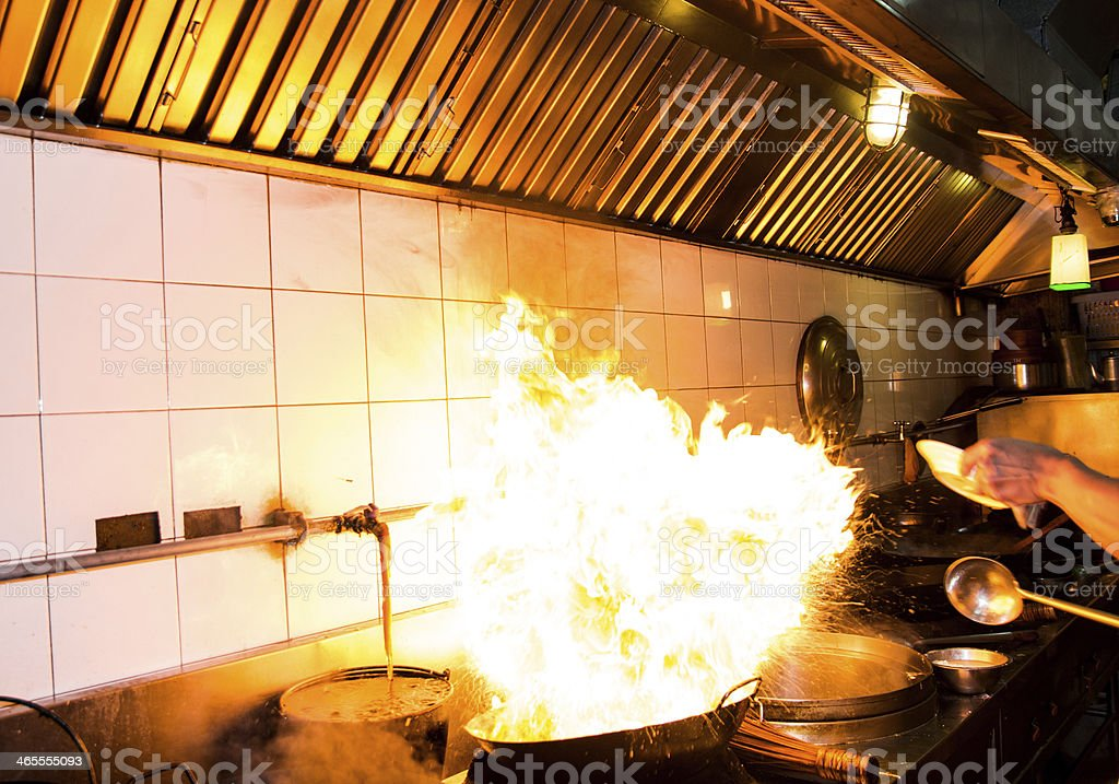 Stir fire very hot royalty-free stock photo