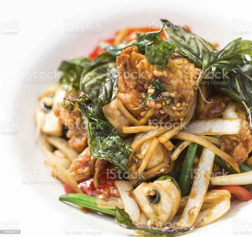 Stir fried basil seafood stock photo