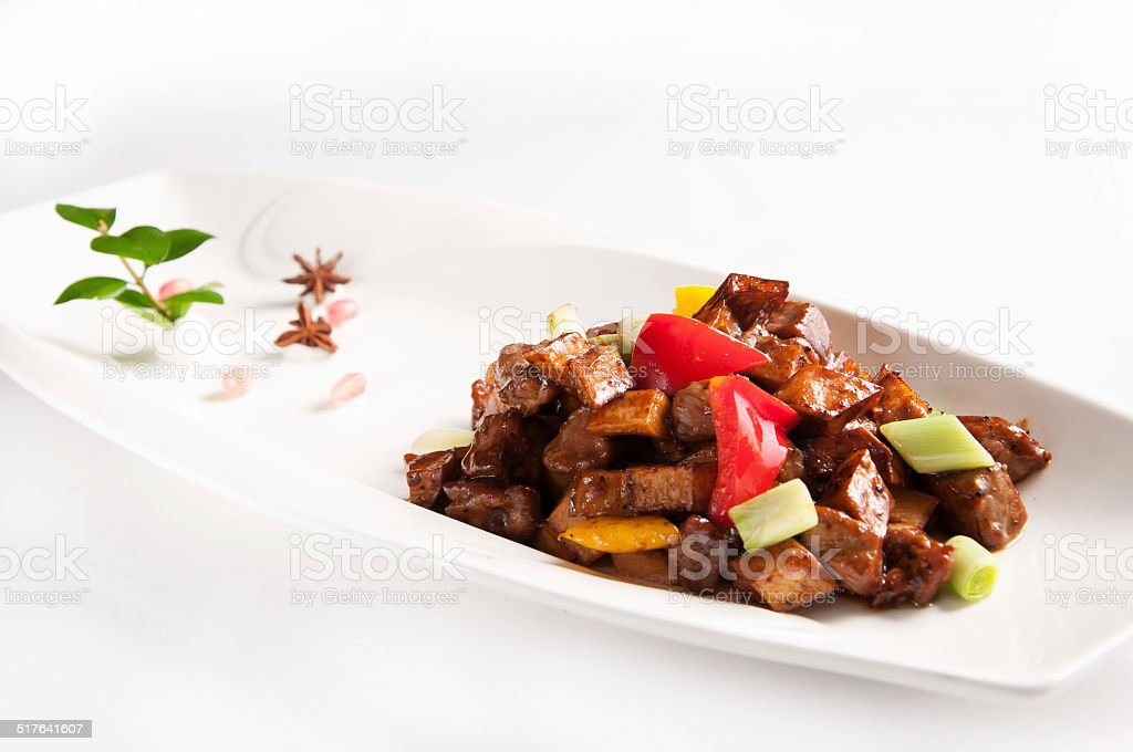 Stir fried beef with black pepper and mushroom stock photo