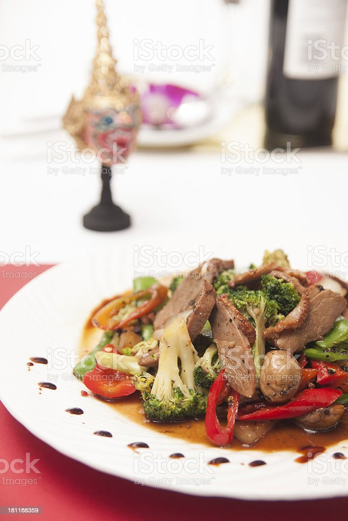 Stir fried grill duck with black pepper. royalty-free stock photo