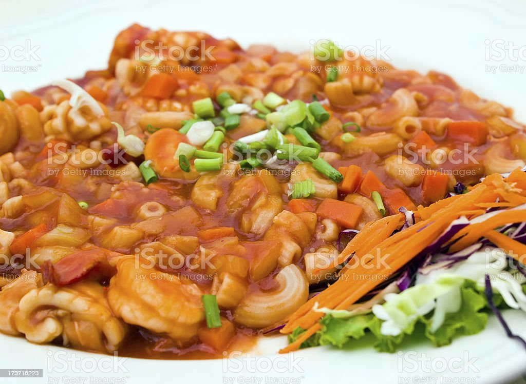 Stir fried macaroni with prawn and squid royalty-free stock photo