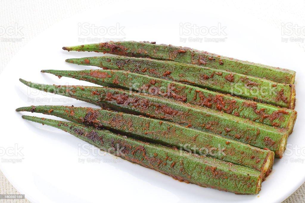 Stir fried okra royalty-free stock photo