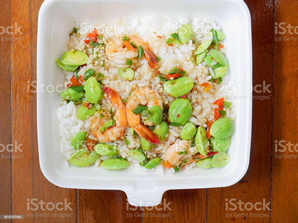 Stir fried parkia speciosa and prawn with steamed rice stock photo