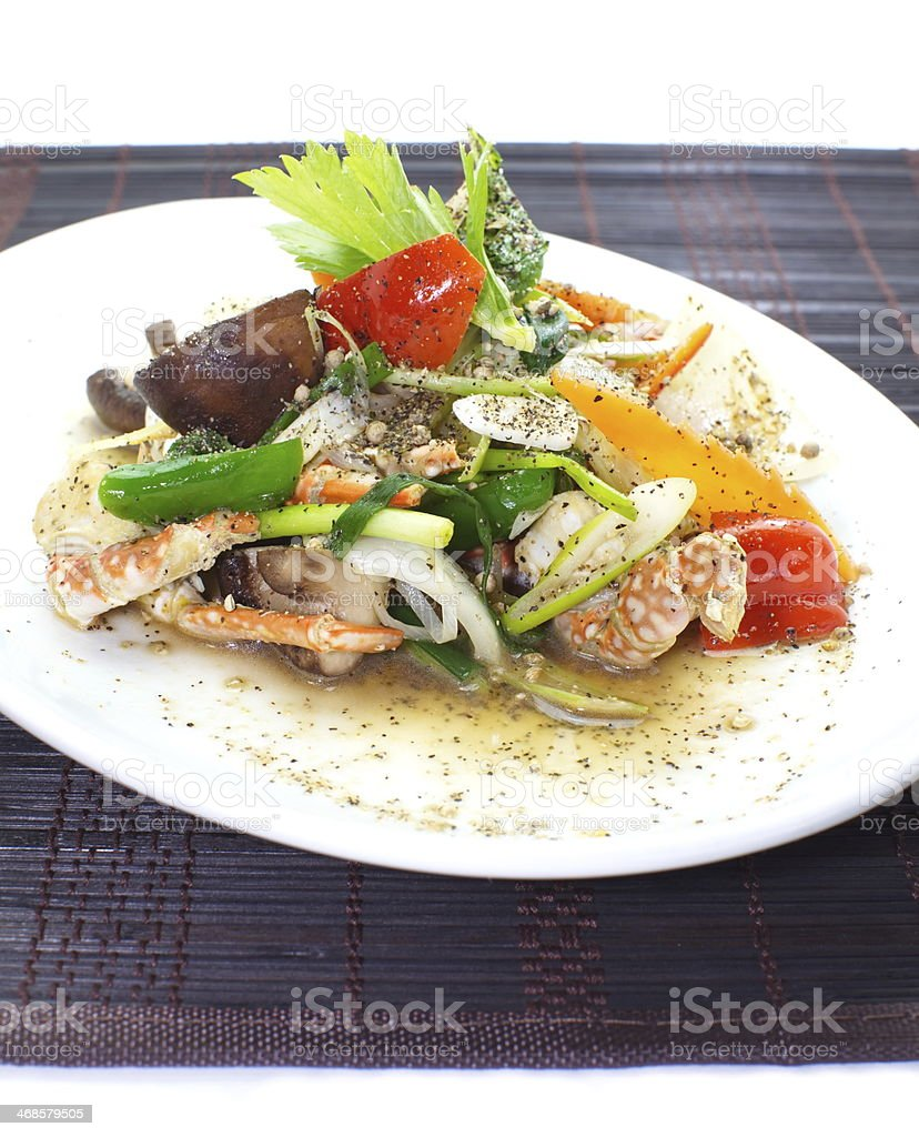 Stir fried seafood with black pepper royalty-free stock photo