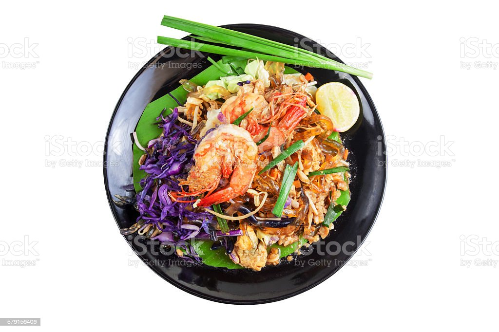 Stir fried Seaweed glass line with Shrimp (Pad Thai) stock photo