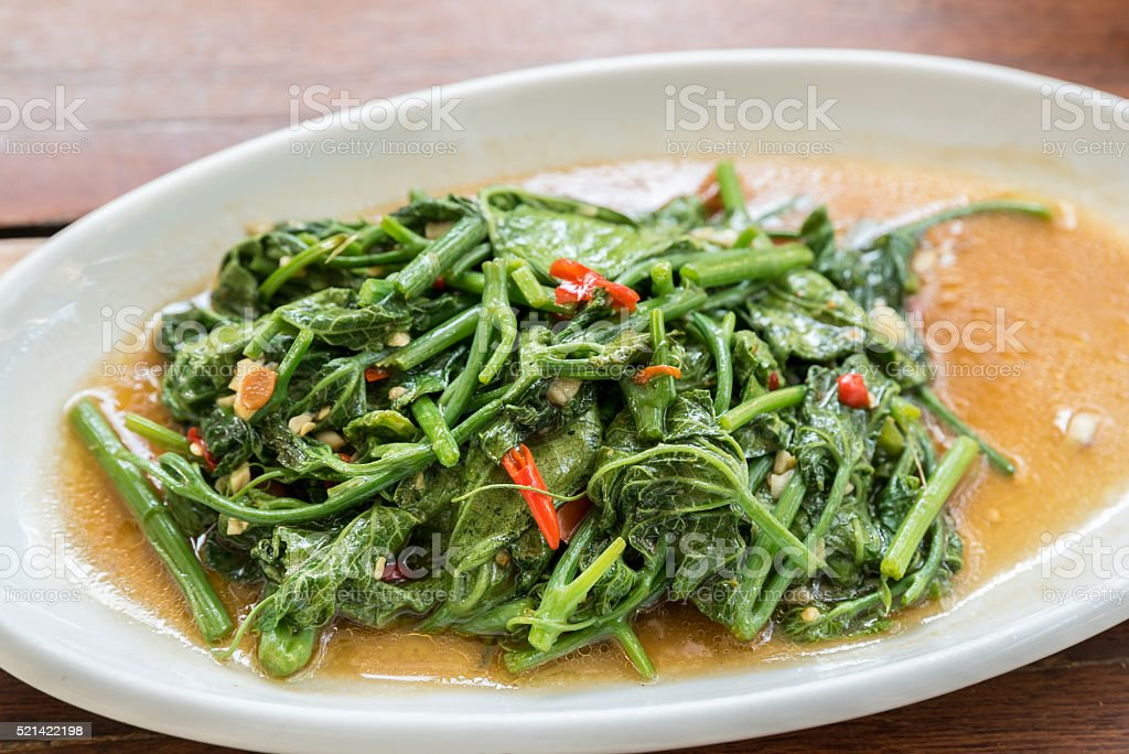 Stir Fried spinach stock photo