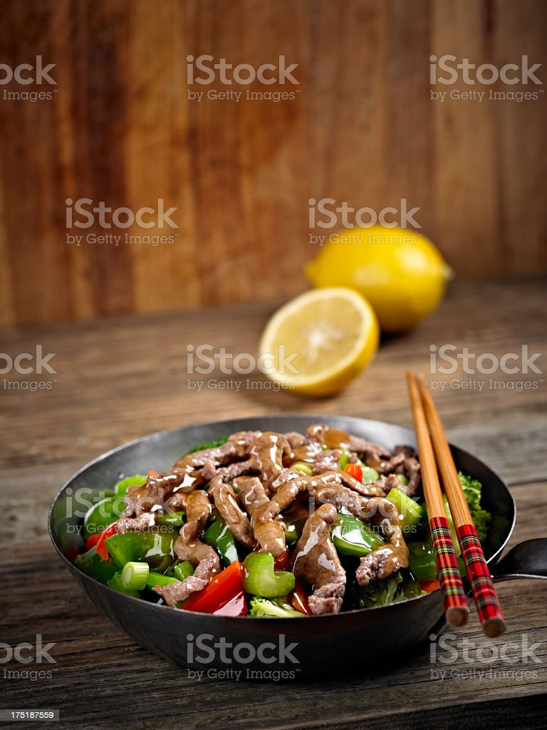 Stir Fried Vegetable with Beef stock photo