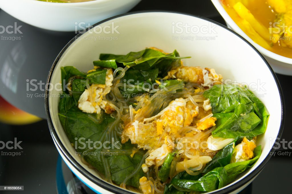 Stir Fried Vegetables.Thai food.(Liang vegetable fried eggs) stock photo
