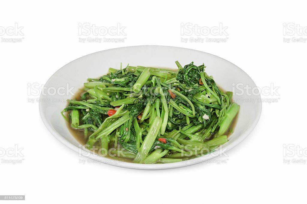 Stir Fried Water Spinach or pak boong fai daeng stock photo