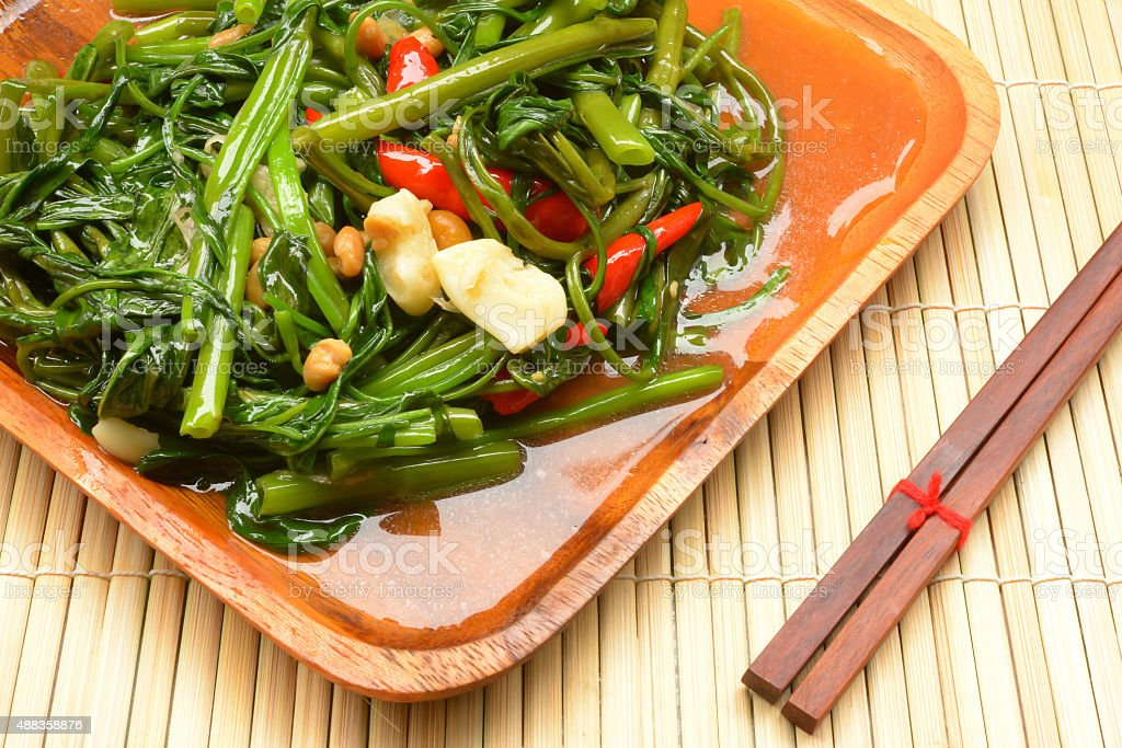 Stir Fried Water Spinach stock photo