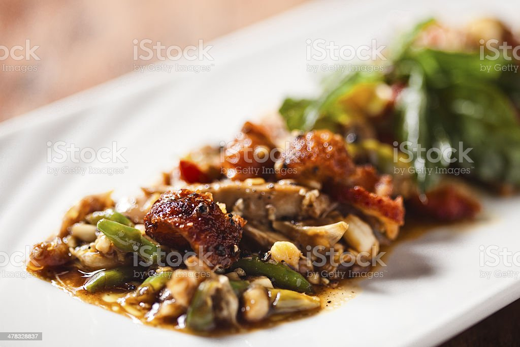 Stir fried white meat royalty-free stock photo