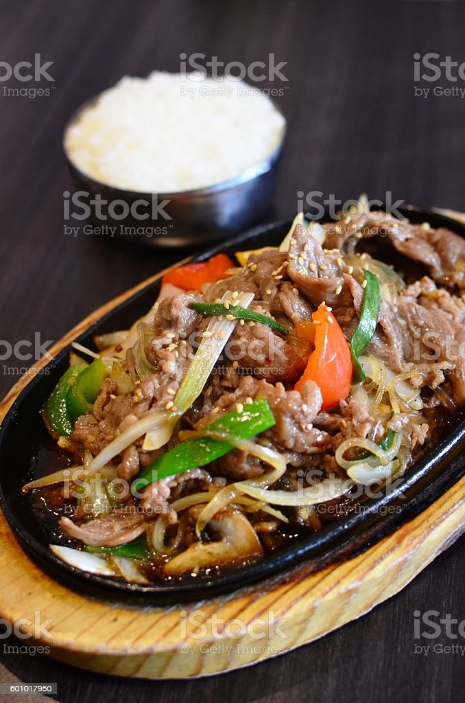 Stir fry beef with rice stock photo