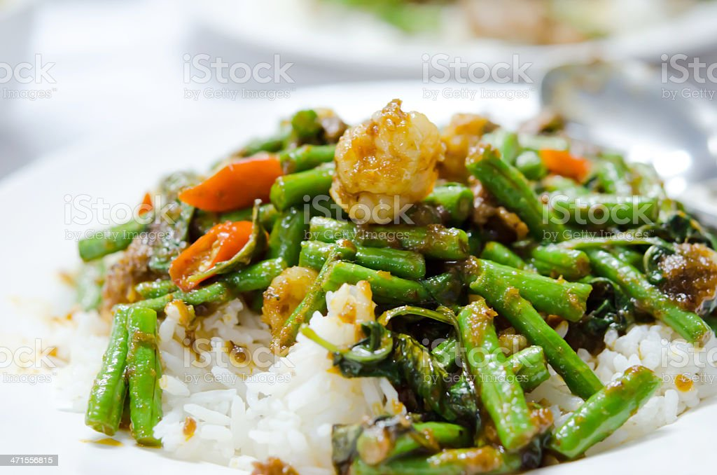 stir fry  chinese cowpea and shrimp royalty-free stock photo