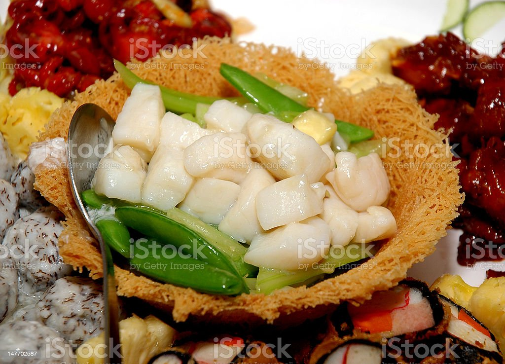Stir fry fresh scallop with green peas royalty-free stock photo