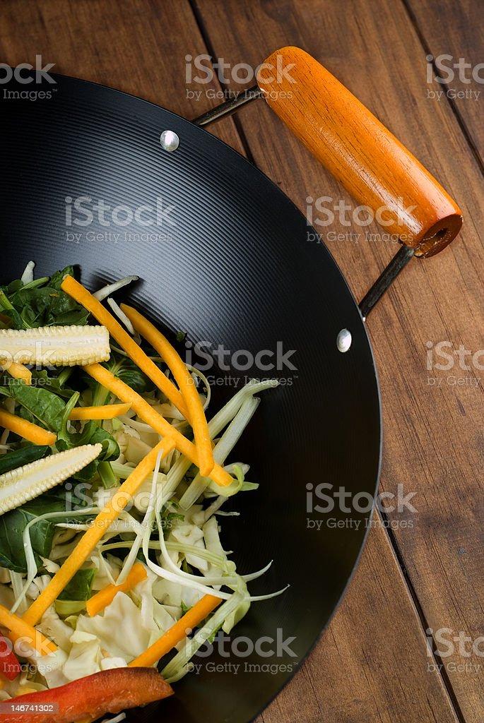 Stir fry in wok royalty-free stock photo