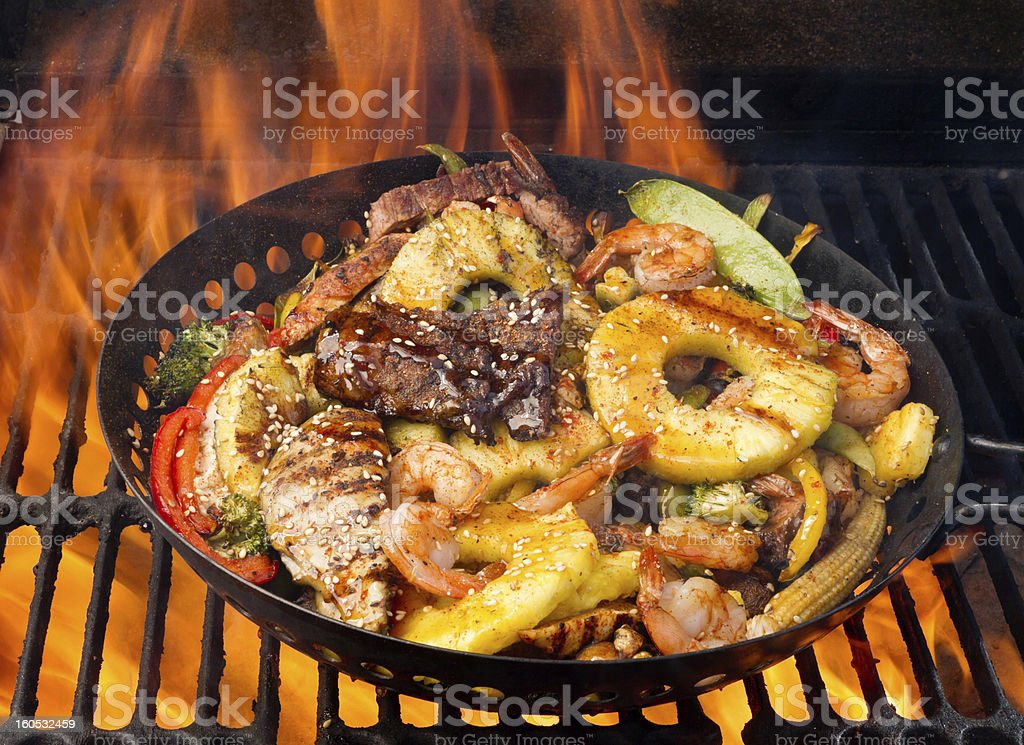 Stir Fry on Barbecue Grill stock photo