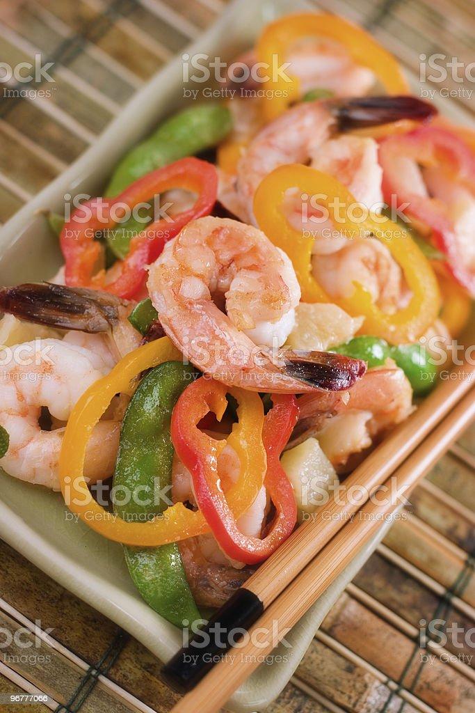 Stir Fry Shrimp & Vegetables stock photo
