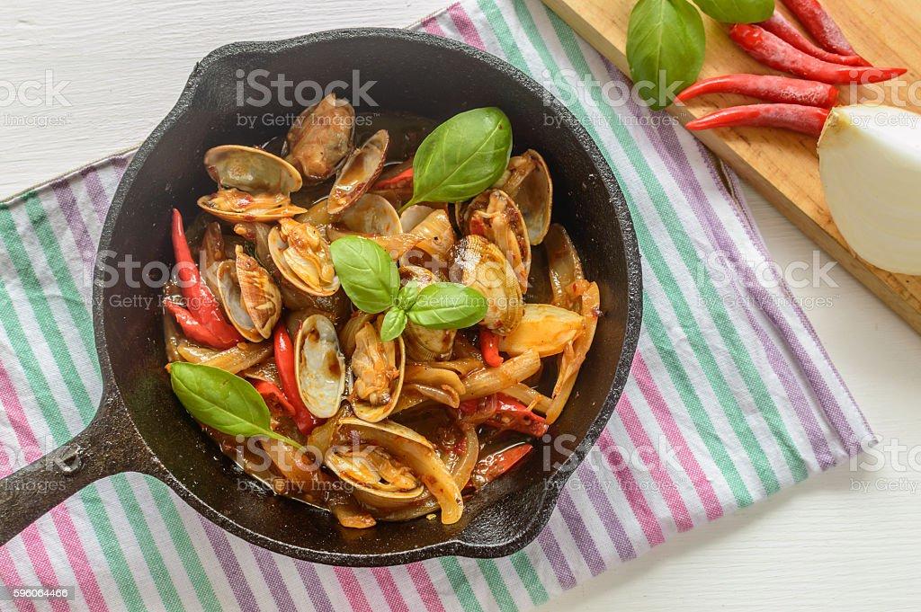 stir fry spicy Manila Clams stock photo