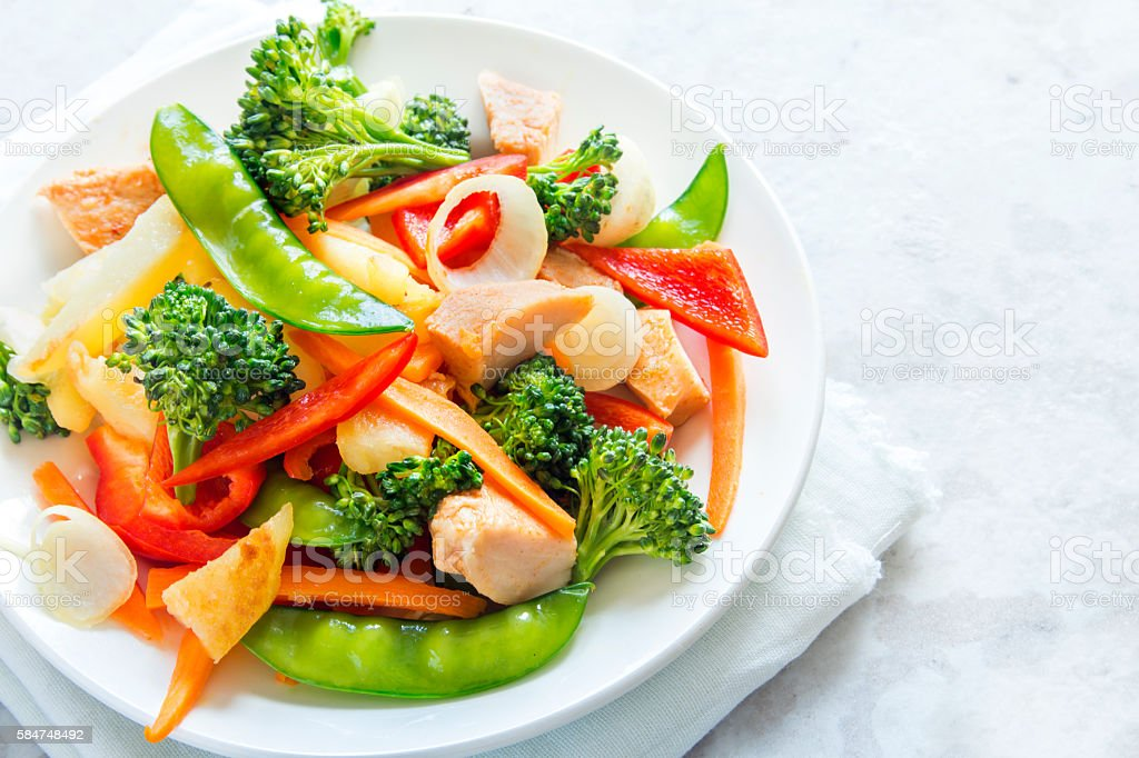 stir fry with chicken stock photo