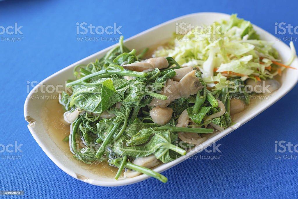 stir sayate wish salted soy bean, Fried vegetables stock photo
