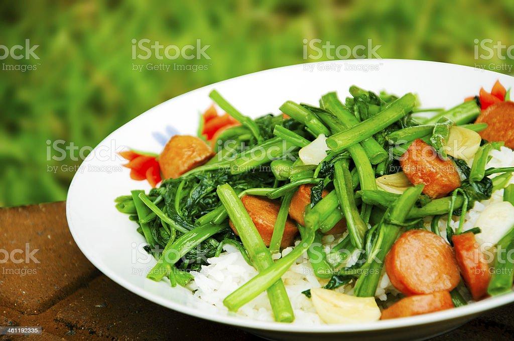 Stir the vegetables stock photo