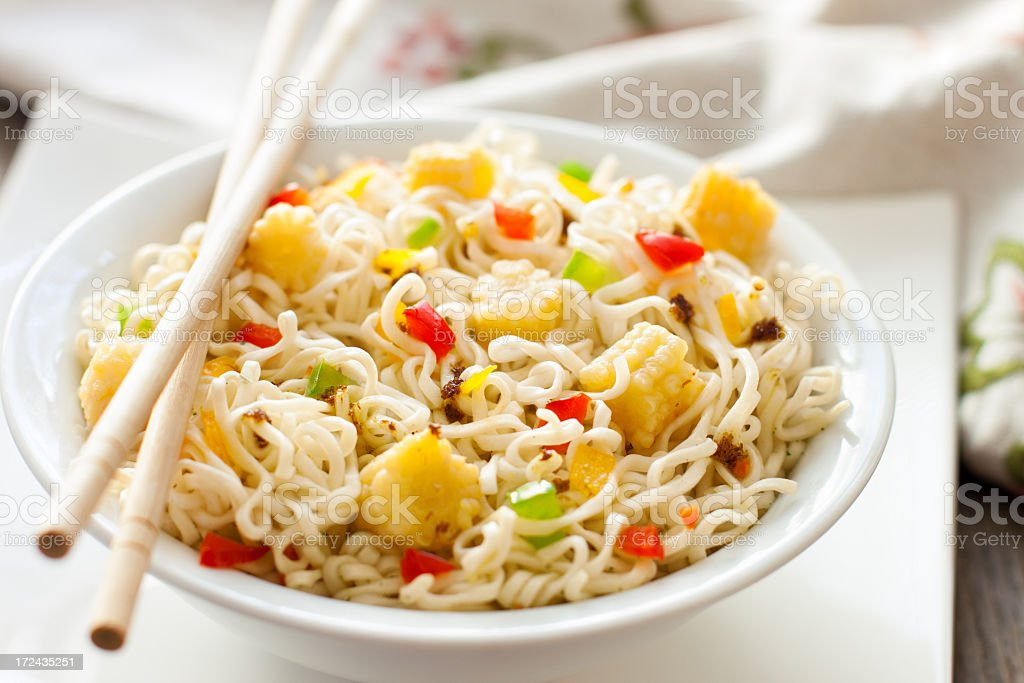 Stir-fried Asian noodles royalty-free stock photo