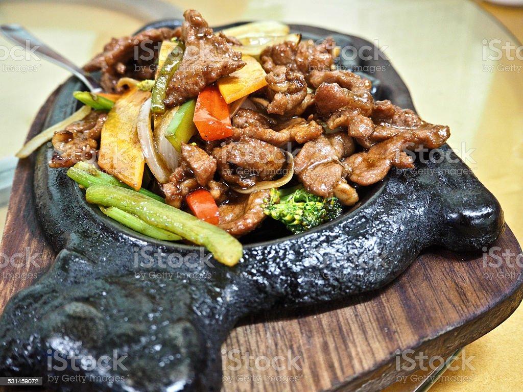 Stir-Fried beef in black pepper sauce stock photo