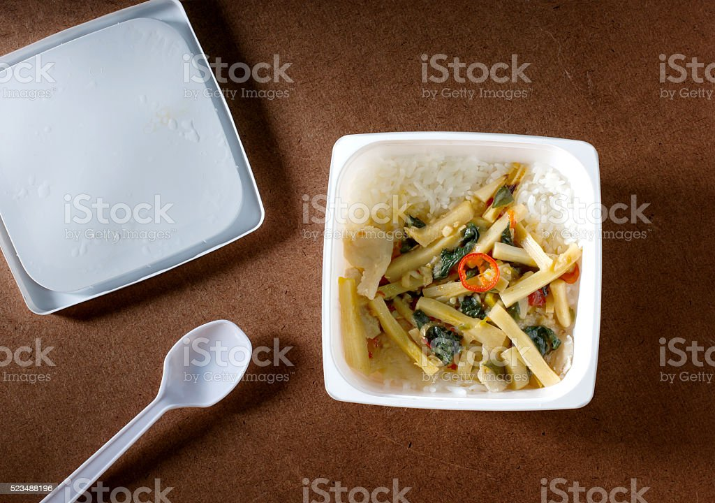 Stir-fried chicken with chili paste and bamboo shoots.Top view stock photo