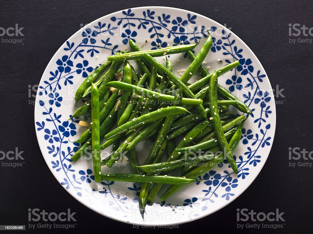 stir-fried grean beans stock photo