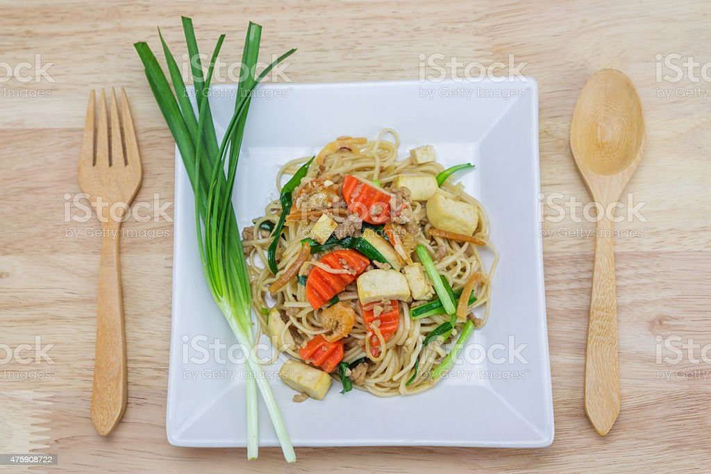Stir-fried noodles, Chinese style royalty-free stock photo