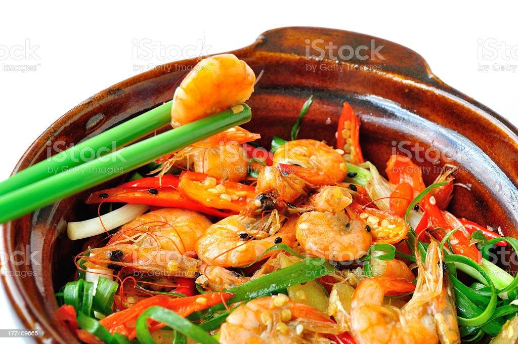 stirfried shrimps stock photo