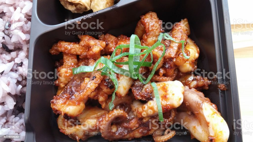 Stir-fried squid stock photo