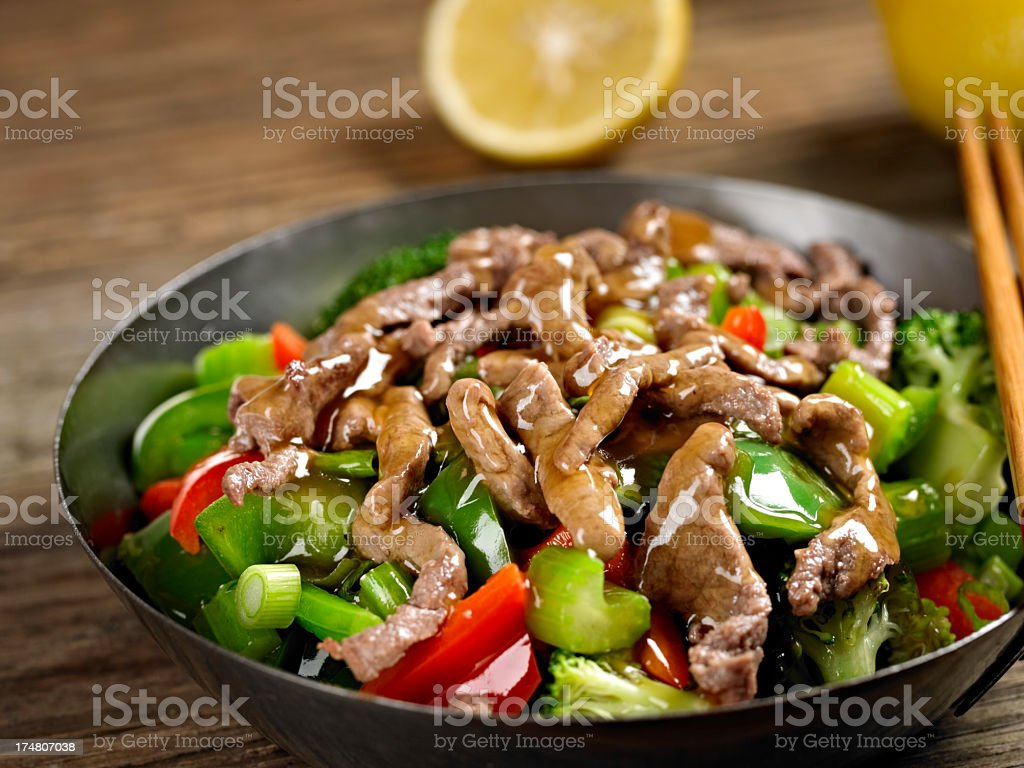 Stirfried Vegetable with Beef royalty-free stock photo
