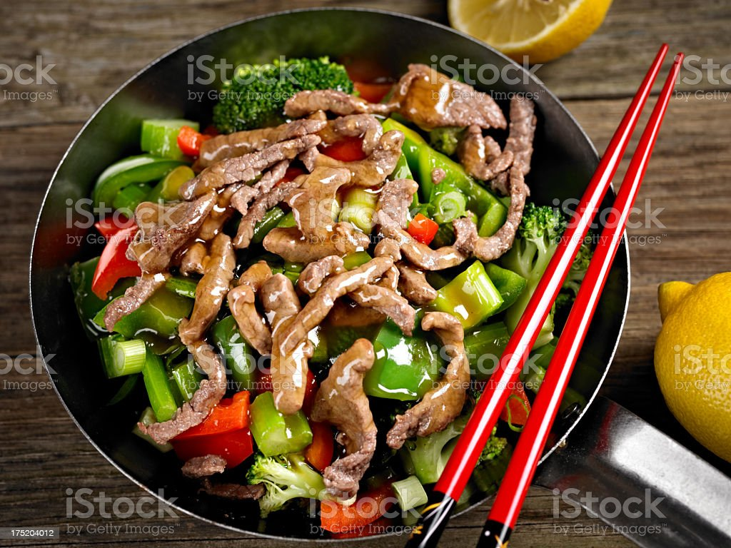 Stirfried Vegetable with Beef stock photo