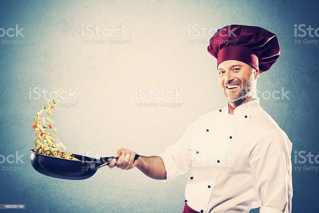 Stir-frying chef stock photo