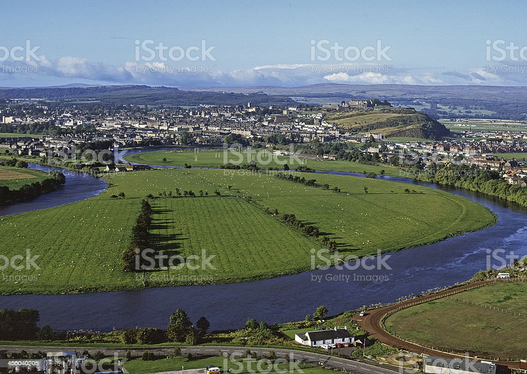 Stirling and River Forth Scotland stock photo