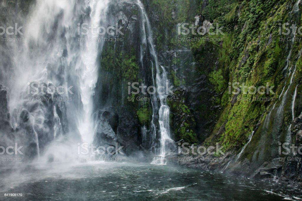 Stirling Falls at Milford Sound in Fiordland National Park, New Zealand stock photo