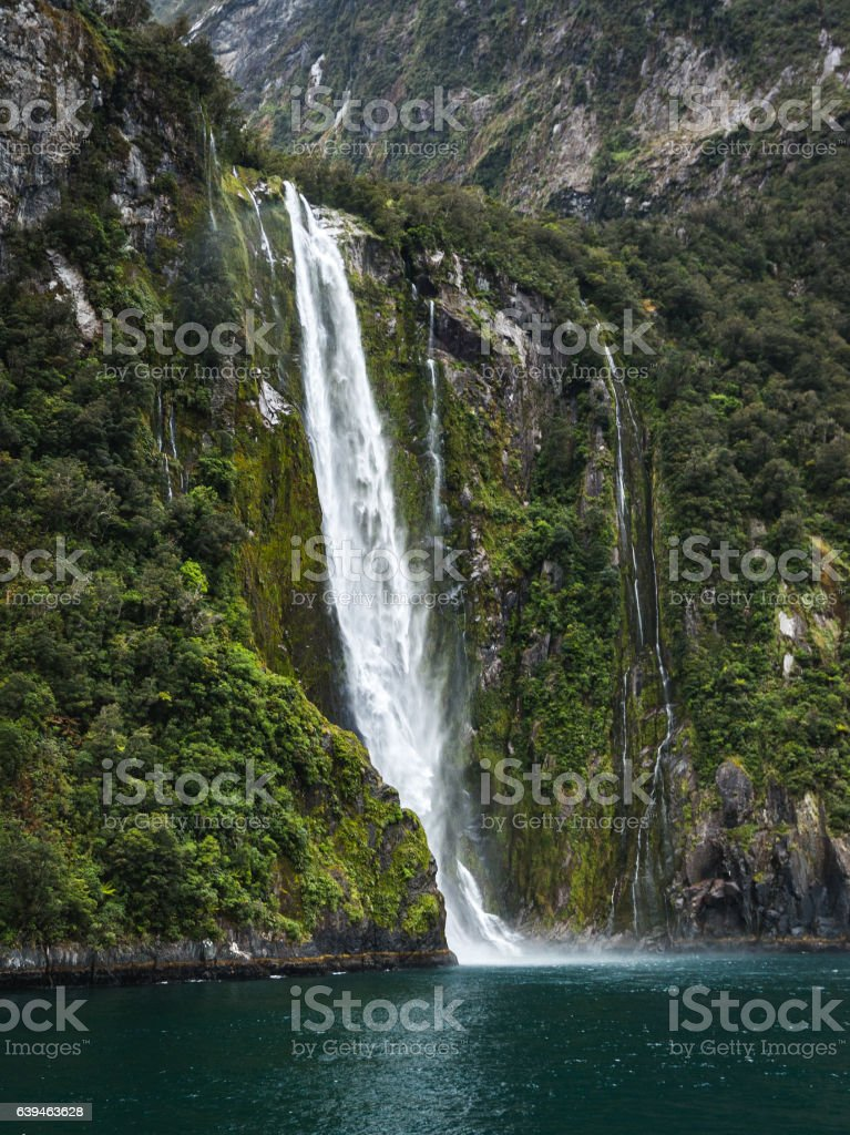Stirling Falls at Milford Sound stock photo