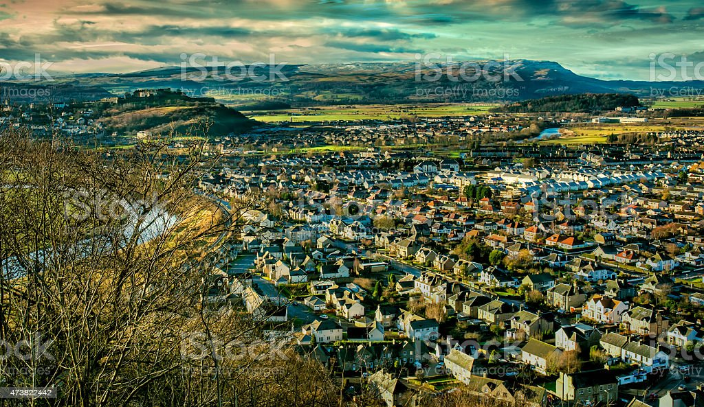 Stirling from Wallace Monument stock photo