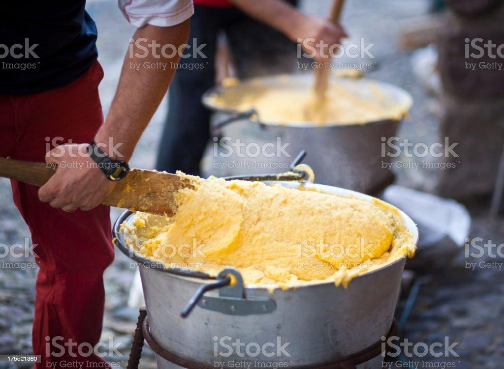 Stirring Polenta stock photo